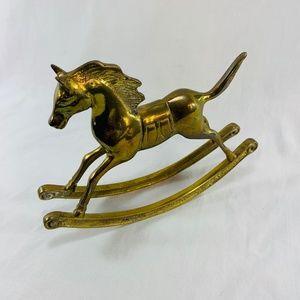 Vintage Rocking Horse Figurine Solid Brass